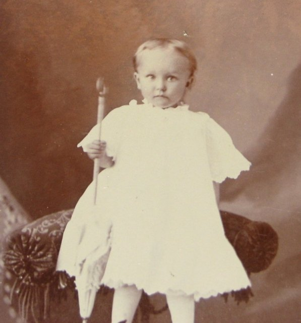 Portrait of a Young Child with a Parasol - CABINET CARD