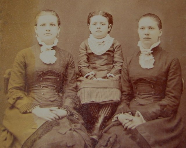 Three Beautiful Girls in Gorgeous Victorian Clothing - CABINET CARD