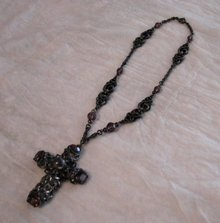 1920's Cross Necklace accented with Amethyst Glass