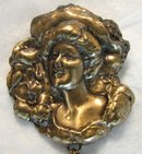 Gibson Girl Hanging Locket Brooch