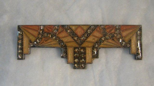 Art Deco Enameled Rhinestone Bar Pin