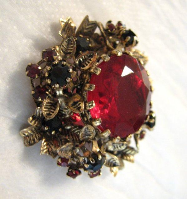 Vintage Red Stone Floral Brooch