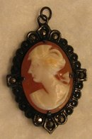 1920's Shell Cameo Pendant with Marcasite Accents