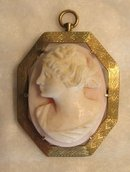 19th Century Cameo Brooch -  Coral Hard Stone
