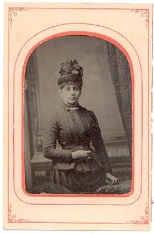LARGE TINTYPE OF VICTORIAN LADY IN HAT