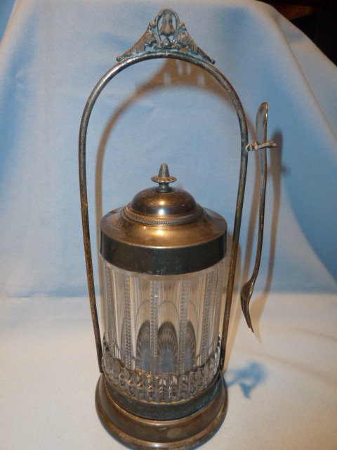 VICTORIAN PICKLE CASTOR CASTER WITH FORK CLEAR ZIPPER PANEL