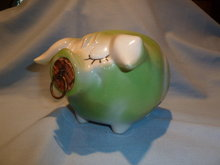 HULL CORKY PIG BANK LIME GREEN BULLS EYE
