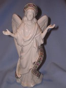 LENOX IVORY  CHINA TALL ANGEL OF LIGHT JEWELED  FIGURINE