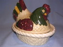 METLOX POPPYTRAIL VERNON RED& GREEN ROOSTER HEN ON NEST COVERED DISH