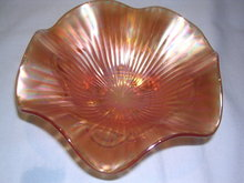 NORTHWOOD MARIGOLD BEADED CABLE INSIDE RIB FOOTED CARNIVAL  CANDY BOWL