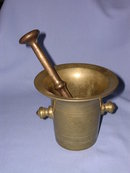 EUROPEAN ANTIQUE  BRASS MORTAR AND PESTLE