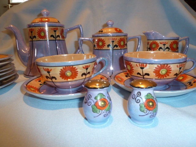 BEAUTIFUL 23 PC BLUE & PEACH WITH SUN FLOWER LUSTER TEA SET SERVICE JAPAN
