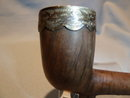 ANTIQUE K.B. SMOKING PIPE WITH STERLING BANDS AMBER MOUTHPIECE IN FITTED  CASE