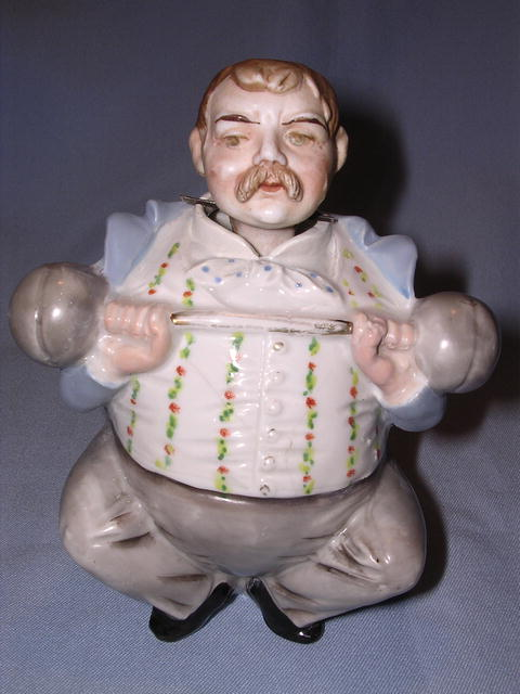 Very Rare Antique Bisque Weight Lifter Figural  Nodder