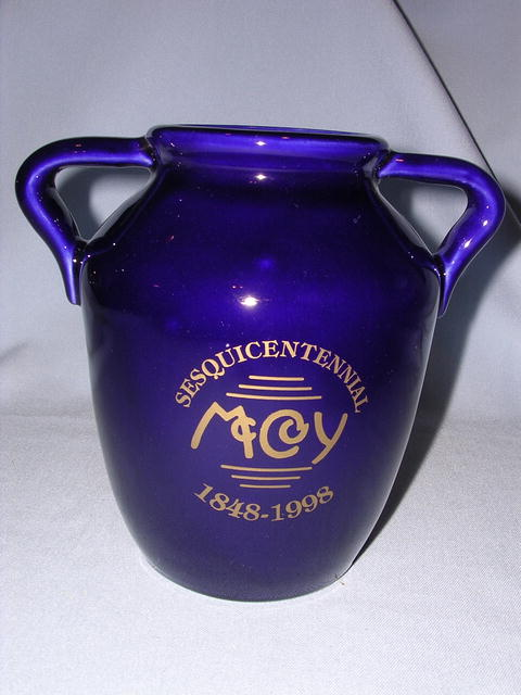 MCCOY SESQUICENTENNIAL  MINIATURE  COBALT BLUE OIL JAR SIGNED