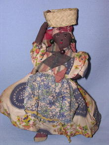 BLACK CLOTH DOLL HAND MADE