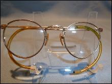 ANTIQUE BAUSCH & LOMBE HIBO 1/10 ROUND ENGRAVED RIM BI FOCAL  EYE GLASSES IN ORIG CASE