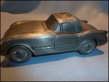 1953 CORVETTE SILVER ALL METAL ADVERTISING BANK BY BANTHRICO