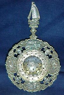 Antique Dutch Silver Tea Strainer   Sail Boat  Dutch