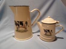 European 10 PC ENAMEL COW SET, MILK PITCHER, COFFEE POT AND CUPS