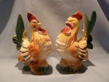 VINTAGE ROYAL COPLEY SET OF HEN AND ROOSTER  CHICKENS