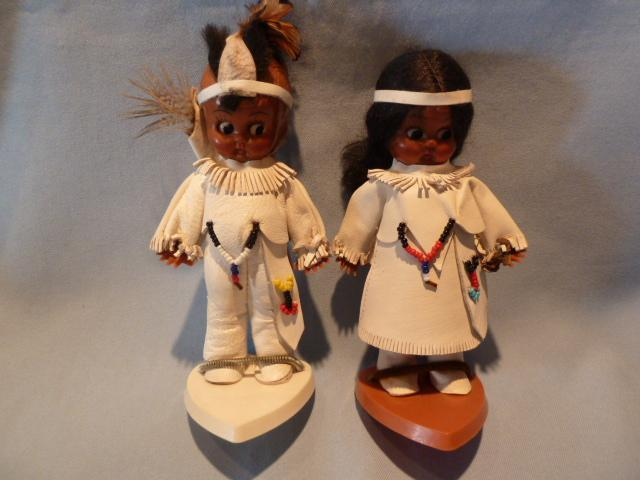 PAIR VINTAGE CARLSON DOLLS INDIAN BOY& GIRL ON STANDS