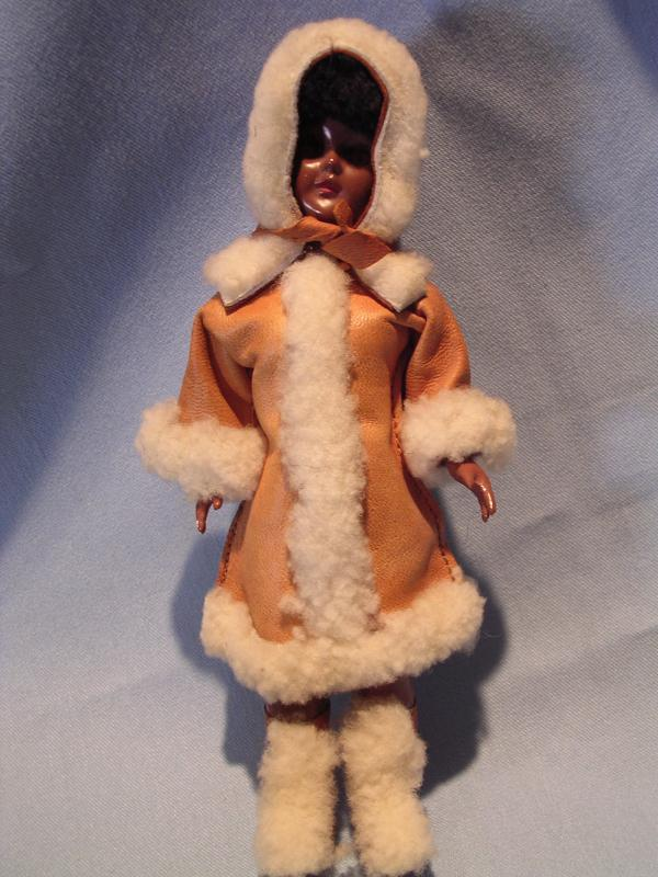 VINTAGE CARLSON ESKIMO DOLL LEATHER CLOTHING