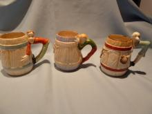 Set of three 3 Occupied Japan Ceramic Western Tall Mugs Cups