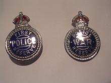 TWO VINTAGE BRITISH POLICE RESERVE BADGES C. 1940