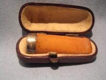 ANTIQUE CIGAR HOLDER BUTTERSCOTCH BAKELITE CATALIN, SILVER BAND, FITTED CASE