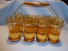 VINTAGE SET OF 8 LIBBEY AMBER TUMBLERS WITH GOLD BANDS RINGS IN CADDY