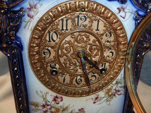 ANTIQUE ANSONIA PAWNEE COBALT BLUE MANTLE CLOCK 1882