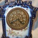 ANTIQUE ANSONIA PAWNEE COBALT BLUE MANTLE CLOCK 1882