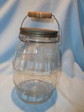 ANTQIUE ANCHOR HOCKING TWO GALLON GLASS  BARREL PICKLE JAR