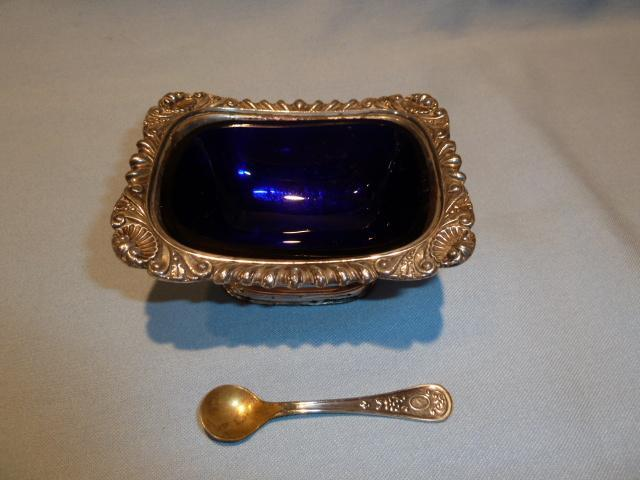 ANTIQUE SILVER PLATE AND COBALT 3 PC MASTER SALT WITH SPOON ENGLISH
