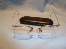 ANTIQUE ARTCRAFT NOKORRR EYE GLASSES SPECS WITH ORIGINAL CASE