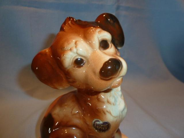 ROYAL COPLEY SITTING PUPPY FIGURINE WITH ORIG LABEL STICKER