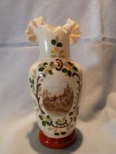 BEAUTIFUL AND RARE BRISTOL HAND PAINTED SCENE RUFFLE TOP VASE