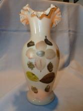 BEAUTIFUL AND RARE BRISTOL HAND PAINTED PINK FLORAL RUFFLE TOP VASE