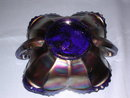DUGAN VINTAGE GRAPE BLUE  CARNIVAL GLASS SQUARE BON BON