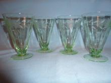 BEAUTIFUL GREEN DEPRESSION ETCHED FOOTED WATER GLASSES  SET OF FOUR (4)