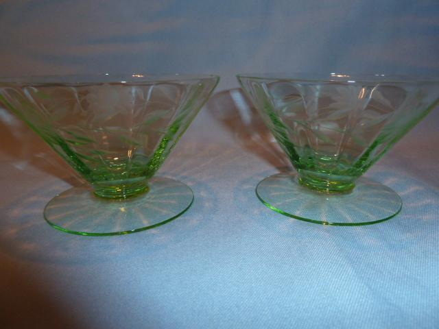 BEAUTIFUL GREEN DEPRESSION ETCHED FOOTED SHERBETS  SET OF TWO (2)