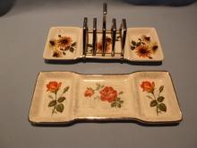 TWO MIDWINTER TOAST  DISHES WITH ONE CHROME CENTER RACK THAT CAN BE USED ON EITHER TOAST