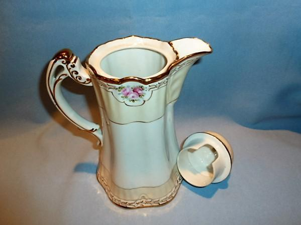 BEAUTIFUL NIPPON EIGHTEEN PIECE CHOCOLATE POT WITH DEMI CUPS AND SAUCERS