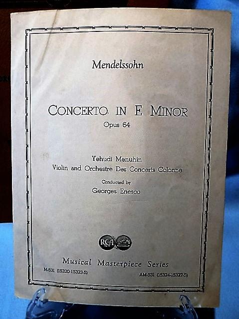 Mendelssohn, Yehudi Menuhin,RCA Victor Concerto E Minor,78 rpm 4disk album Vntg