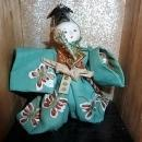 ANTIQUE JAPANESE SAMARI DOLL WITH SWORD IN WOOD AND GLASS SHADOW BOX