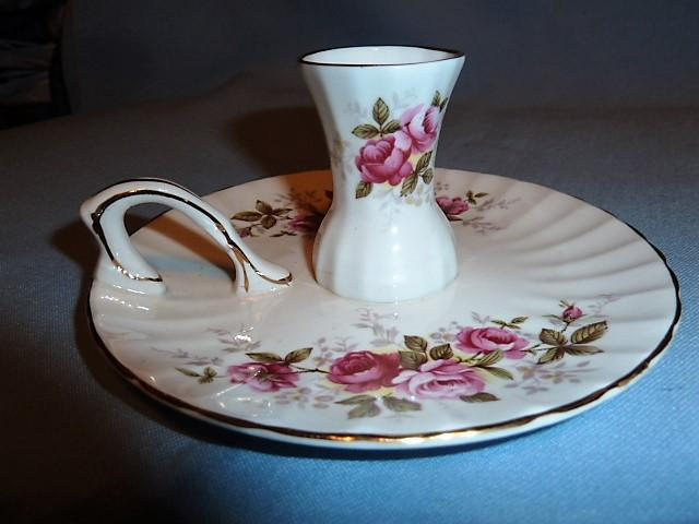 ROYAL SUTHERLAND ENGLISH BONE CHINA PINK ROSES CANDLESTICK WITH ATTACHED UNDERPLATE& HANDLE