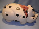 HULL VINTAGE LARGE COLD COLOR POLKA DOT PIG PIGGY BANK
