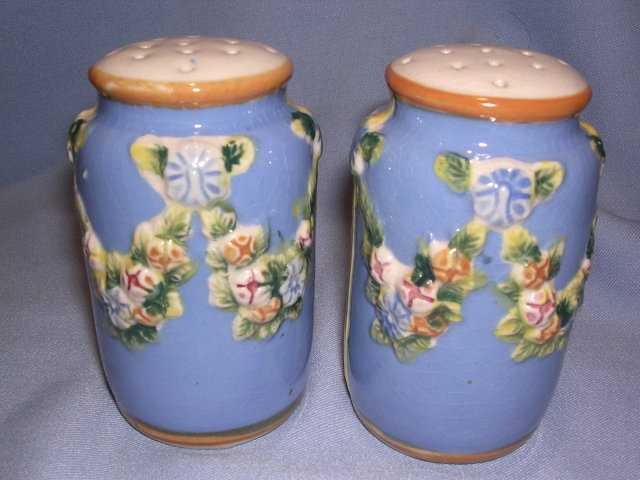 ANTIQUE JAPAN BLUE  RAISED FLORAL LARGE SALT AND PEPPER SHAKER SET