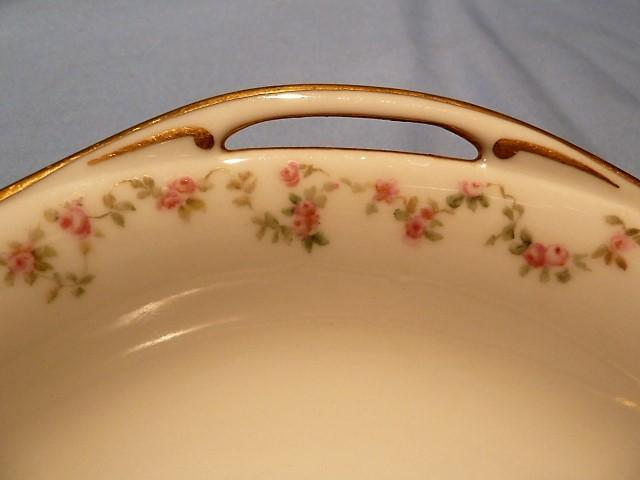 HAVILAND CHINA FRANCE ROSE  GARLAND OPEN HANDLE VEGETABLE BOWL